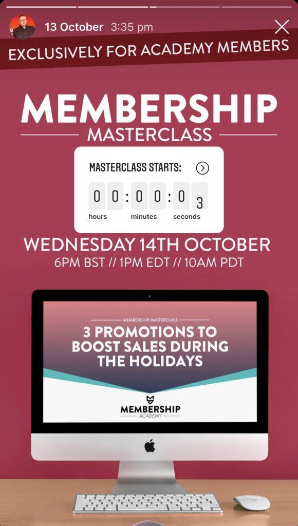 Membership Masterclass countdown - Instagram Stories